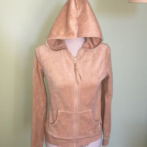 Old Navy Tan Velour Zippered Hoodie Jacket